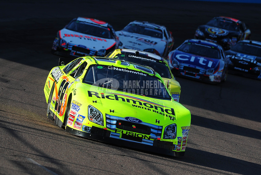 Nov. 14, 2009; Avondale, AZ, USA; NASCAR Nationwide Series driver Paul Menard during the Able Body Labor 200 at Phoenix International Raceway. Mandatory Credit: Mark J. Rebilas-