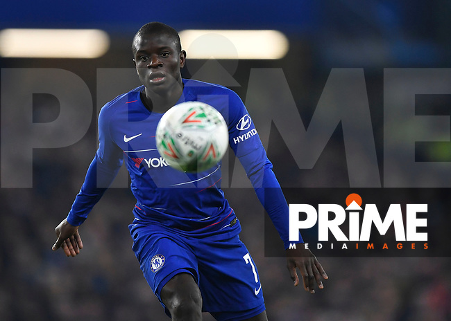 Ngolo Kanté of Chelsea in action during the Carabao Cup Semi-Final 2nd leg match between Chelsea and Tottenham Hotspur at Stamford Bridge, London, England on 24 January 2019. Photo by Vince  Mignott / PRiME Media Images.