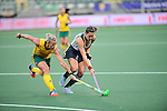 The Hague, Netherlands, June 01: Tarryn Bright #29 of South Africa tries to defend against Martina Cavallero #7 of Argentina during the field hockey group match (Women - Group B) between Argentina and South Africa on June 1, 2014 during the World Cup 2014 at Kyocera Stadium in The Hague, Netherlands. Final score 4:1 (2:0) (Photo by Dirk Markgraf / www.265-images.com) *** Local caption ***