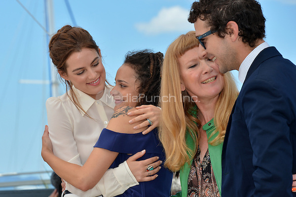 Riley Keough, Shia Labeouf, Andrea Arnold and Shia Labeour at the Photocall &acute;American Honey` - 69th Cannes Film Festival on May 15, 2016 in Cannes, France.<br />
