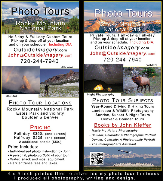 Printed flier for my Rocky Mountain National Park photo tours. Photo workshop subjects include: wildlife, landscapes, wildflowers, night photography.