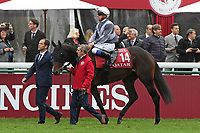 October 07, 2018, Longchamp, FRANCE - Study of Man with Stephane Pasquier up at the parade for the Qatar Prix de l'Arc de Triomphe (Gr. I) at  ParisLongchamp Race Course  [Copyright (c) Sandra Scherning/Eclipse Sportswire)]