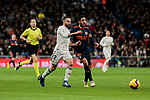 Real Madrid's Dani Carvajal and Valencia CF's Daniel Parejo during La Liga match between Real Madrid and Valencia CF at Santiago Bernabeu Stadium in Madrid, Spain. December 01, 2018. (ALTERPHOTOS/A. Perez Meca)