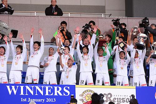 Kashiwa Reysol team group, JANUARY 1, 2013 - Football / Soccer : Kashiwa Reysol players celebrates after winning the 92th Emperor's Cup Final match between Gamba Osaka 0-1 Kashiwa Reysol at National Stadium, in Tokyo, Japan. (Photo by AFLO)