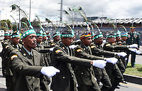 BOGOTA - COLOMBIA - 20 -07 - 2016: Miembros de la Fuerzas Militares de Colombia, desfilan durante la ceremonia con motivo del 206 aniversario del Dia de la Independencia Nacional. / Members of the Military Forces of Colombia, parading during the ceremony to mark the 206 anniversary of the National Independence Day. Photo: VizzorImage / Javier Casella - Min Defensa? / Cont
