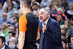 Real Madrid coach Pablo Laso talking with referee during Turkish Airlines Euroleague match between Real Madrid and Herbalife Gran Canaria at WiZink Center in Madrid, 20 November 2018. (ALTERPHOTOS/Borja B.Hojas)