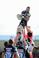 Dave Dennis of Exeter Chiefs wins the ball at a lineout. Aviva Premiership match, between Exeter Chiefs and Saracens on September 11, 2016 at Sandy Park in Exeter, England. Photo by: Patrick Khachfe / JMP