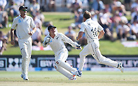 25th November 2019; Mt Maunganui, New Zealand;  Neil Wagner trapping Broad LBW to get the final wicket and win the test International test match day 5 of 1st test, New Zealand versus England;  at Bay Oval, Mt Maunganui, New Zealand.