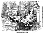 The Strenuous Life. (an Edwardian era cartoon of a sleeping office worker with his feet on a desk infront of the sign This Is My Busy Day)