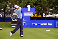 Clement Sordet (FRA) on the 1st tee during the 1st round at the Porsche European Open, Green Eagles Golf Club, Luhdorf, Winsen, Germany. 05/09/2019.<br /> Picture Fran Caffrey / Golffile.ie<br /> <br /> All photo usage must carry mandatory copyright credit (© Golffile | Fran Caffrey)