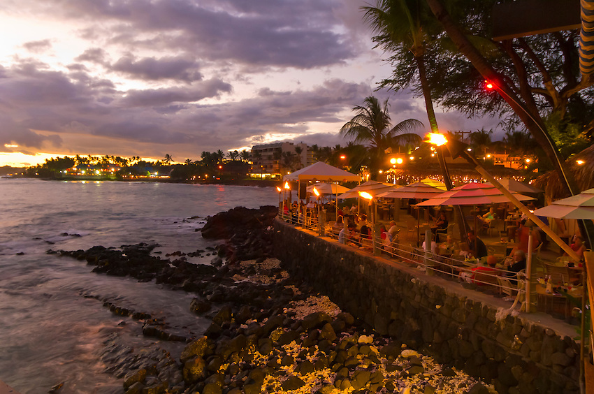 Huggo's on the Rocks restaurant, Kailua-Kona, Big Island of Hawaii, Hawaii, USA