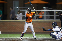 Preston Palmeiro (7) of the Frederick Keys at bat against the Buies Creek Astros at Jim Perry Stadium on April 28, 2018 in Buies Creek, North Carolina. The Astros defeated the Keys 9-4.  (Brian Westerholt/Four Seam Images)