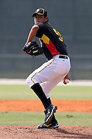 Pittsburgh Pirates minor league pitcher Luis Heredia vs. the Toronto Blue Jays during an Instructional League game at Pirate City in Bradenton, Florida;  October 11, 2010.  Photo By Mike Janes/Four Seam Images