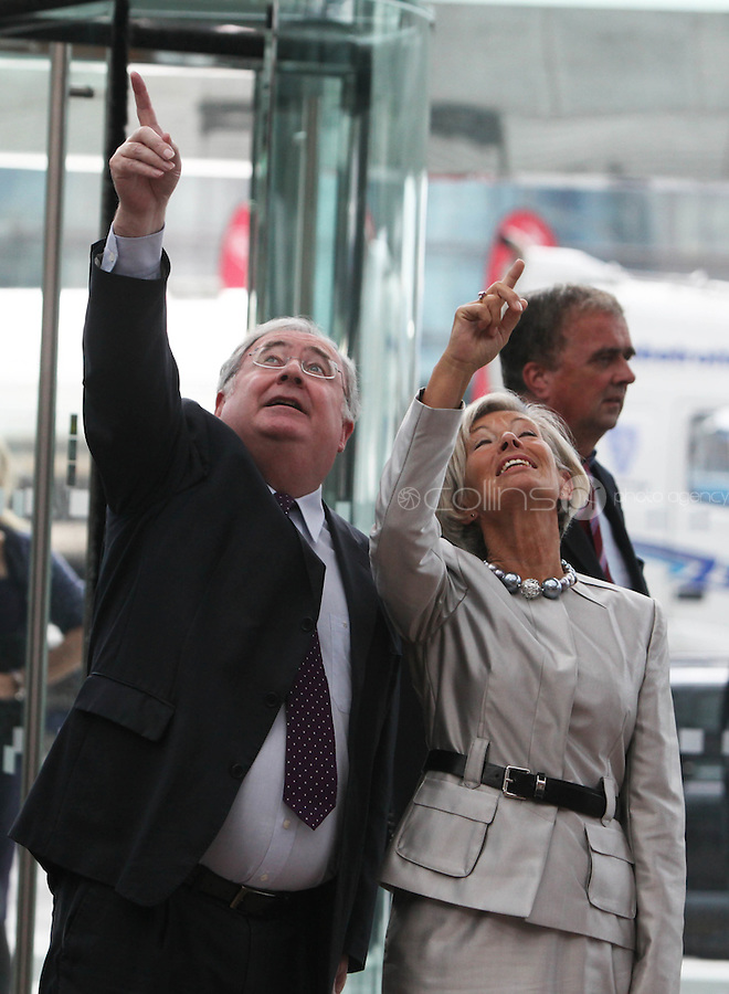 07/09/2010.Labour PArty TD Pat Rabbitte  & Fine Gael Olivia Mitchell TD. at the opening of the Convention Centre in Spencers Dock,  Dublin..Photo: Gareth Chaney Collins