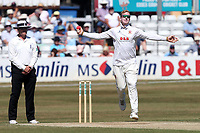 Simon Harmer of Essex is bowling action during Essex CCC vs Somerset CCC, Specsavers County Championship Division 1 Cricket at The Cloudfm County Ground on 27th June 2018