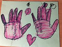 """Loving Hands"" Drawing by Somansh Singh, Grade K, Yarmouth, ME, USA"