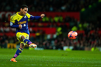 Sunday 05 January 2014<br /> Pictured:Jonathan de Guzman takes a free kick<br /> Re: Manchester Utd FC v Swansea City FA cup third round match at Old Trafford, Manchester