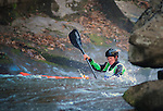 November 5, 2016 - Hendersonville, North Carolina, U.S. -  Kayaker, Dylan McKinney, works his way through strong currents before dropping into the Scream Machine Rapids during the 21st annual Green Race.The Green River Narrows provides one of the most intense and extreme whitewater venues in the world and is home to many of the USA's most talented paddlers.  Green River Narrows, Hendersonville, North Carolina.