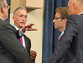 United States Representative Trey Gowdy (Republican of South Carolina), Chairman, US House Select Committee on Benghazi, and US Representative Peter Roskam (Republican of Illinois) have a discussion prior to receiving testimony from former US Secretary of State Hillary Rodham Clinton, a candidate for the 2016 Democratic Party nomination for President of the United States, on Capitol Hill in Washington, DC on Thursday, October 22, 2015.<br /> Credit: Ron Sachs / CNP
