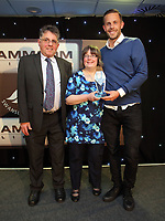 Pictured: Gylfi Sigurdsson (R) receives an award by Hugo Valario (L) Wednesday 18 May 2017<br /> Re: Swansea City FC, Player of the Year Awards at the Liberty Stadium, Wales, UK.
