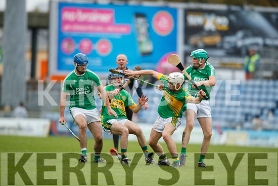 Anthony O'Carroll and Ally O'Connor Ballyduff in action against Brian McAuliffe and Ricky Heffernan Lixnaw in the Senior County Hurling Final in Austin Stack Park on Sunday