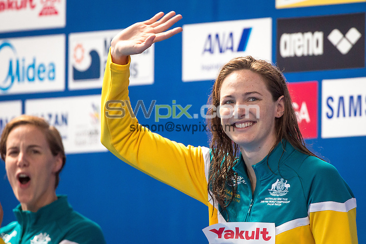 Picture by Alex Whitehead/SWpix.com - 07/08/2015 - Swimming - 16th FINA World Swimming Championships 2015 - Kazan Arena Stadium, Kazan, Russia - Australia's Cate Campbell celebrates winning Bronze in the Women's 100m Freestyle final.