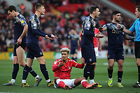 Charlton's Lyle Taylor shows his frustration after being fouled once again during Charlton Athletic vs Barnsley, Sky Bet EFL Championship Football at The Valley on 1st February 2020