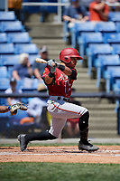 Altoona Curve center fielder Jason Martin (23) hits an RBI single during a game against the Binghamton Rumble Ponies on June 14, 2018 at NYSEG Stadium in Binghamton, New York.  Altoona defeated Binghamton 9-2.  (Mike Janes/Four Seam Images)