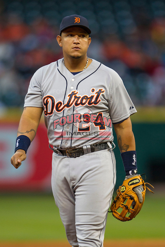 Detroit Tigers third baseman Miguel Cabrera (24) during the MLB baseball game against the Houston Astros on May 3, 2013 at Minute Maid Park in Houston, Texas. Detroit defeated Houston 4-3. (Andrew Woolley/Four Seam Images).