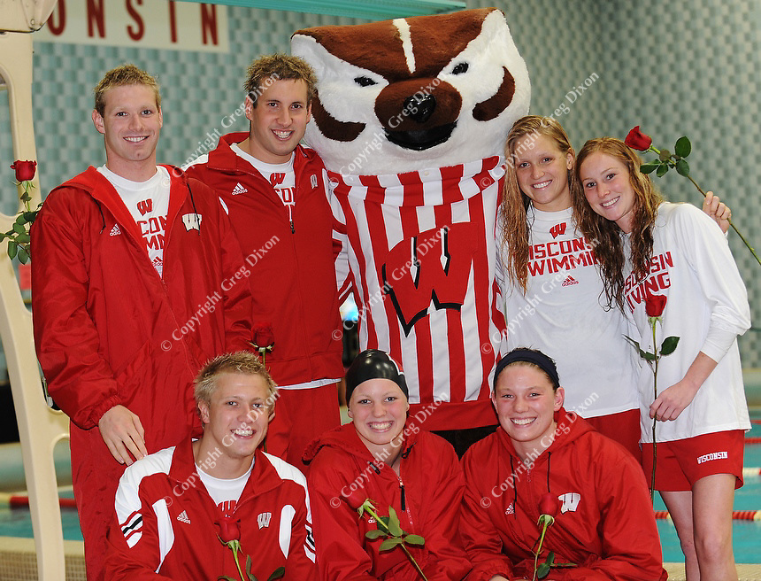 Wisconsin seniors pose with Bucky Badger during UW Swimming and Diving Senior Day on Thursday, 11/11/10 at the Natatorium in Madison, Wisconsin