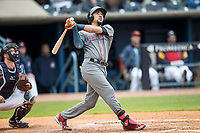 Lehigh Valley IronPigs shortstop JP Crawford (3) follows through on his swing against the Toledo Mud Hens during the International League baseball game on April 30, 2017 at Fifth Third Field in Toledo, Ohio. Toledo defeated Lehigh Valley 6-4. (Andrew Woolley/Four Seam Images)