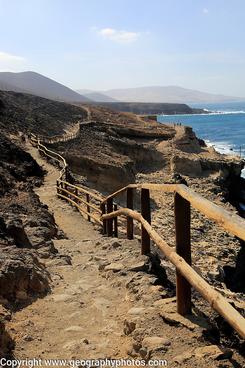 Cliff top footpath at Ajuy, Fuerteventura, Canary Islands, Spain