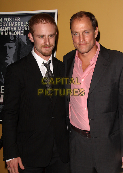 """BEN FOSTER & WOODY HARRELSON.Premiere of """"The Messenger"""" at Clearview Chelsea Cinemas, New York, NY, USA, .8th November 2009..half length grey gray suit pink shirt black tie arm around shoulder beard facial hair .CAP/ADM/PZ.©Paul Zimmerman/AdMedia/Capital Pictures."""