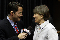 BERKELEY, CA - MARCH 30: Head coach Tara Vanderveer being interviewed during Stanford's 74-53 win against the Iowa State Cyclones on March 30, 2009 at Haas Pavilion in Berkeley, California.