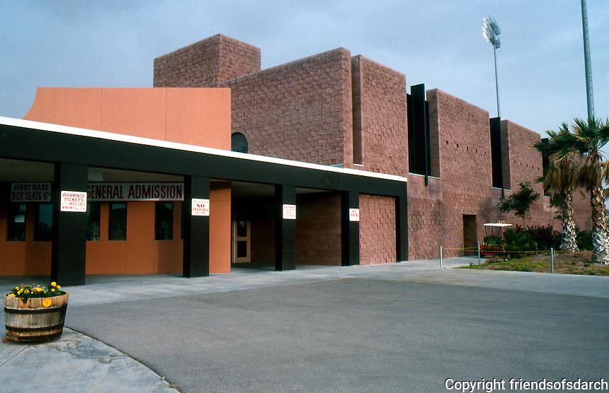 Ballparks: El Paso, TX. Cohen Stadium, 1990. Approach to ticket windows.