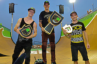 17 August, 2012: Jamie Bestwick (center), Vince Byron (left) and Simon Tabron (right) stand on the podium after the Bmx Final: Round 2 of the Pantech Beach Championships in Ocean City, MD. Jamie Bestwick won the event