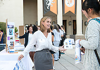 Occidental College student Raina Siegel '17 shares her InternLA experience working at City of Hope during the Career Development Center's Reverse Career Fair, Thorne Hall patio, Sept. 3, 2015.<br /> (Photo by Marc Campos, Occidental College Photographer)