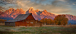 Mormon Row is a popular tourist spot in Jackson Hole, Wyoming where visitors can see the old Mouton Barns and other historic buildings.