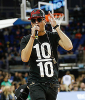 EcKsell performs during Hoops Aid 2015 Celebrity AllStars Basketball Match at the o2 Arena, London, England on 10 May 2015. Photo by Andy Rowland.