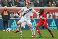 Bridgeview, IL - Saturday April 14, 2018: Zlatan Ibrahimovic, Tony Tchani during a regular season Major League Soccer (MLS) match between the Chicago Fire and the LA Galaxy at Toyota Park.  The LA Galaxy defeated the Chicago Fire by the score of 1-0.