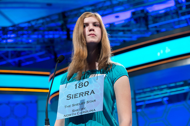 Speller 180 Sierra Kathleen Parker competes in the preliminary rounds of the Scripps National Spelling Bee at the Gaylord National Resort and Convention Center in National Habor, Md., on Wednesday,  May 30, 2012. Photo by Bill Clark
