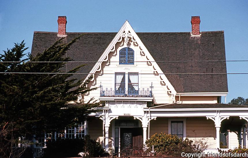 Mendocino CA: Gothic Revival House, c. 1855. 740 Albion St.  Photo '83.