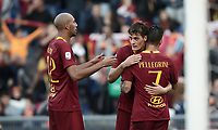Football, Serie A: AS Roma - Sampdoria, Olympic stadium, Rome, November 11, 2018. <br /> Roma's Patrick Schick (c) celebrates after scoring with his teammates Lorenzo Pellegrini (r) and Steven Nzonzi (l) during the Italian Serie A football match between Roma and Sampdoria at Rome's Olympic stadium, on November 11, 2018.<br /> UPDATE IMAGES PRESS/Isabella Bonotto