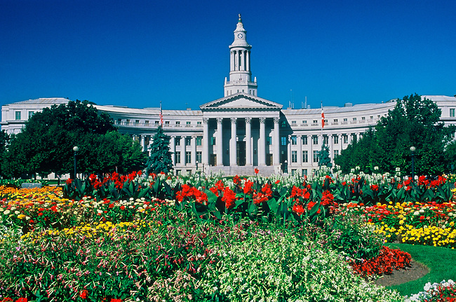 Summer flowers in front of the City & County Building in Civic Center Park, Denver, Colorado.