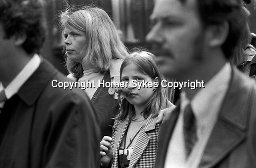 Blair Peach funeral, Southall west London 1979. Celia Stubbs common law wife of Blair Peach with their daughter Rebecca.