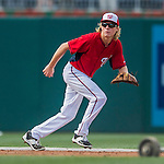 25 August 2016: Washington Nationals outfielder Jayson Werth's son Jackson fields grounders during batting practice prior to a game against the Baltimore Orioles at Nationals Park in Washington, DC. The Nationals blanked the Orioles 4-0 to salvage one game of their 4-game home and away series. Mandatory Credit: Ed Wolfstein Photo *** RAW (NEF) Image File Available ***