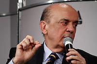 """ATENÇÃO EDITOR: FOTO EMBARGADA PARA VEÍCULOS INTERNACIONAIS. SAO PAULO, 14 DE SETEMBRO DE 2012.ELEICAO SAO PAULO 2012 - SABATINA FOLHA/UOL - JOSE SERRA. O candidato do PSDB a prefeitura de SP, Jose Serra, durante sabatina realizada pelo jornal Folha de SP e pelo site UOL na manha desta quinta feira no Teatro Folha, no shopping Higienopolis na zona oeste da capital paulista.  O candidato responde a perguntas de jornalistas e internautas. Participa da sabatina o editor de """"Poder"""", Ricardo Balthazar, a editora do """"Painel"""", Vera Magalhães, a colunista da Folha Barbara Gancia e o colunista do UOL Mauricio Stycer.   FOTO ADRIANA SPACA / BRAZIL PHOTO PRESS"""