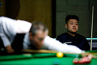 26th November 2019; York, England;  Liang Wenbo R of China reacts during the UK Snooker Championship 2019 first round match with Dominic Dale of Wales in York on Nov. 26, 2019.