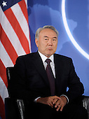 President Nursultan Nazarbayev of Kazakhstan looks on during a meeting with United States President Barack Obama (not pictured) at the Blair House at the Nuclear Security Summit, Sunday, April 11, 2010 in Washington, DC. .Credit: Olivier Douliery / Pool via CNP