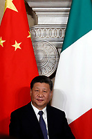 Xi Jinping<br /> Rome March 23rd 2019. The President of the Chinese Democratic Republic visits the Italian Premier to sign economic agreements at Villa Madama.<br /> photo di Samantha Zucchi/Insidefoto